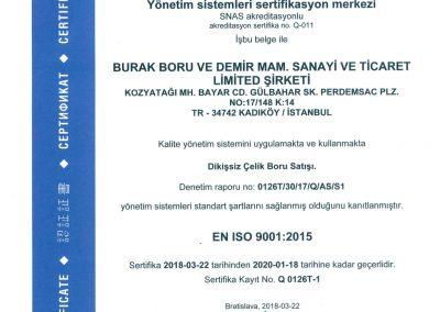 Burak Boru ISO9001:2015 Türkçe